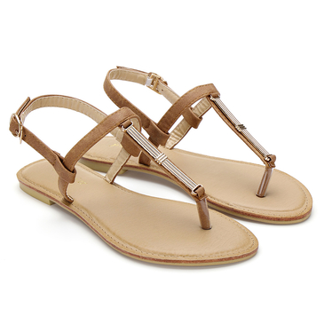 Brown Metal Detail Flat Sandals