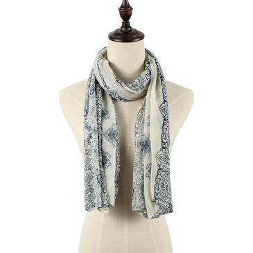 Beige Scarve In Blue and White Pattern