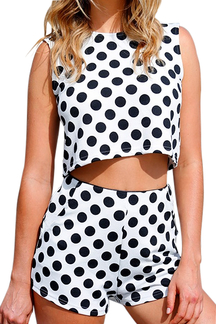 Cropped Tank Top & Shorts In Polka Dot