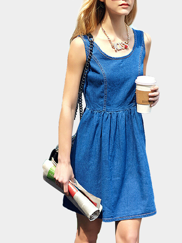 Sleeveless Denim Skater Dress
