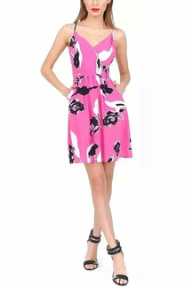 Printed Cami Dress With Cross Back In Rose Pink