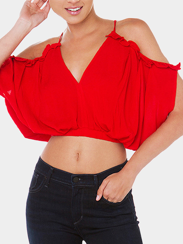 Red Chiffon Cold Shoulder Crop Top