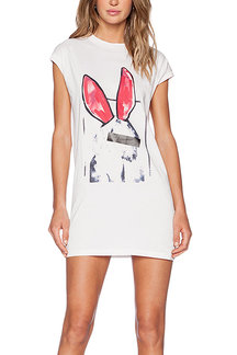 Lovely Rabbit Print White Tank Dress