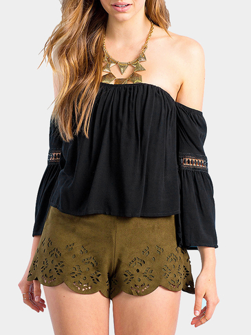 Black Chiffon Off The Shoulder Crop Top