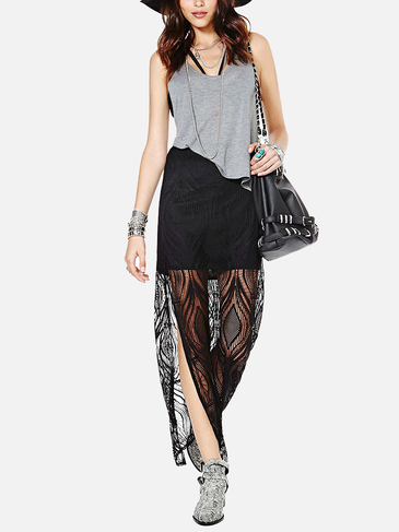 Black Lace Side Split Maxi Skirt