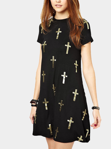Gold Cross Print Dress In Black