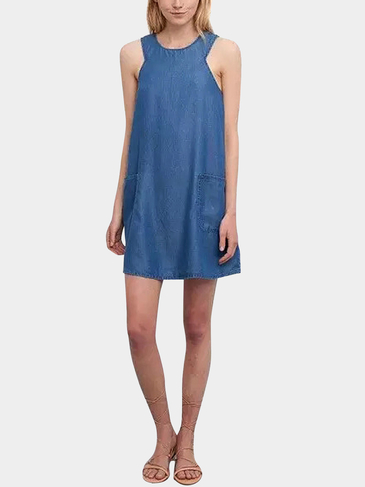 Pocket Denim Tank Dress