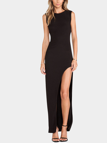 Black Cross Back Maxi Dress With Side Split