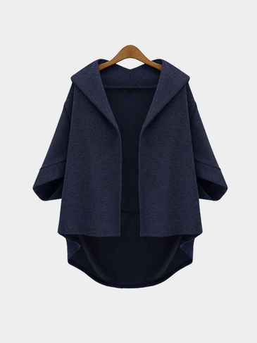 Плюс Размер Navy Bat Sleeves Loose Coat