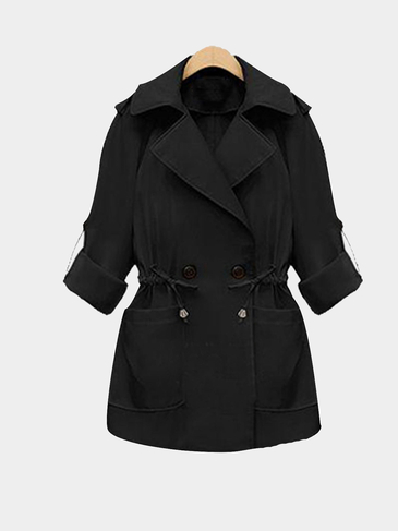 Plus Size Black Tie-Waist Trench Coat