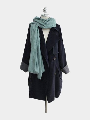 Plus Size Navy Tie-Waist Trench Coat