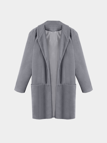 Grey Maxi Coat with Pockets