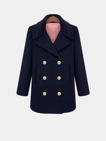 Plus Size Double Breasted Navy Duffle Coat