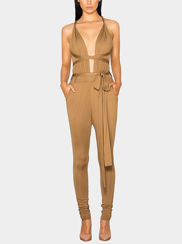 Khaki Multiways Open Back geschnürter Taille Jumpsuit