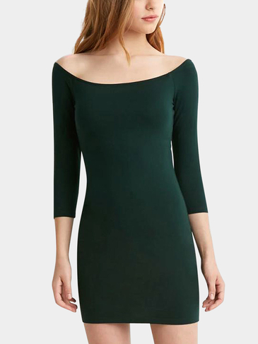 Green Wide Neck Bodycon Dress
