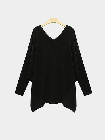 Plus Size V-neck Bat Sleeves Black Knit Top