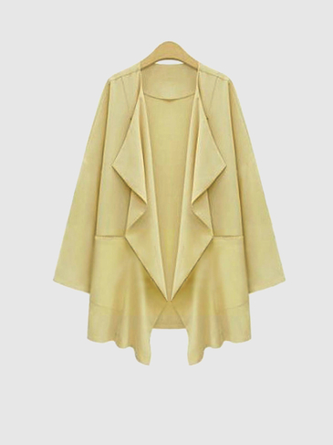 Plus Size Light Yellow Large Pocket Duster Coat