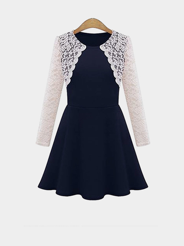 Plus Size Navy Sweet Lace Skater Dress
