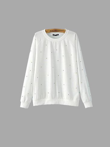 Weiß Diamante Sweatshirt