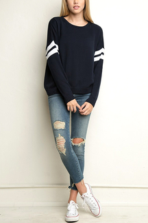 Navy Stripe Sleeve Loose Sweater
