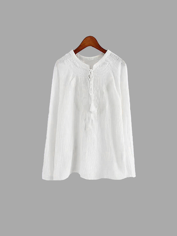 White Embroidery Ethnic Blouse