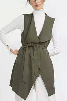 Green Longline Fringed Gilet with Waist Tie