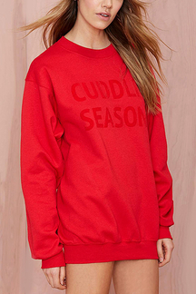 Red Letter Print Sweatshirt