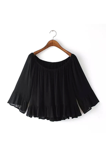 Black Off-the shoulder Frill Blouse