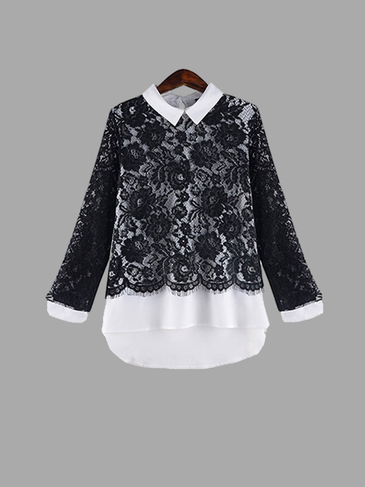 Plus Size Fashion Lace Long Sleeve Top with Classic Collar