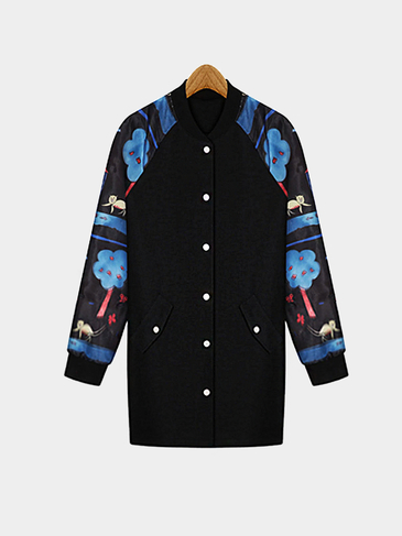 Fashion Plus Size Printing Longline Jacket