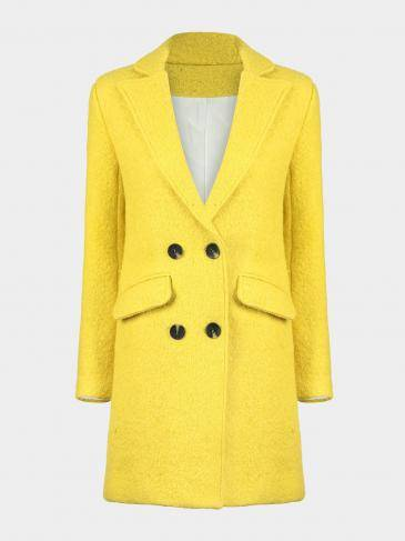 Wool Coat with Button Fastener