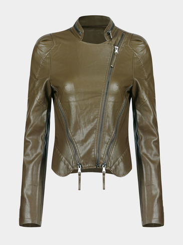 Aritificial Leather Jacket with Front Zippers