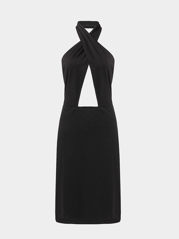 Black Halterneck Bodycon Dress with Cut-out Details