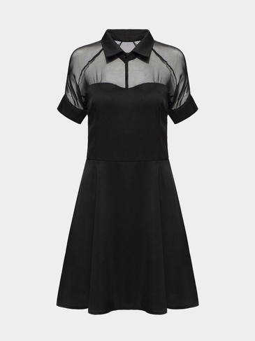 Black Chiffon Dress With Mesh Insert