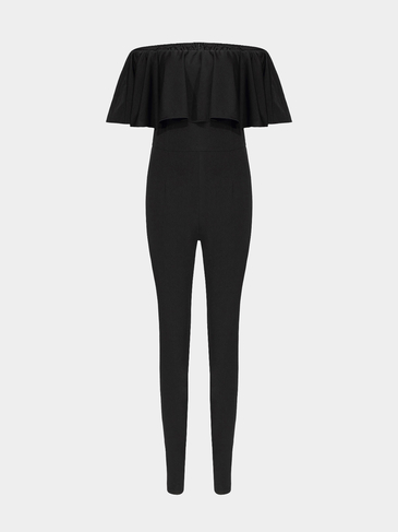 Black Scuba Jumpsuit with Off Shoulder Ruffle