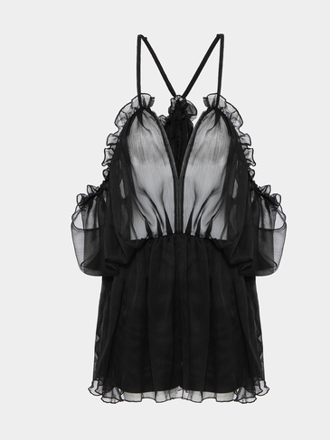 Black Chiffon Pleated Playsuit With Cami Strap