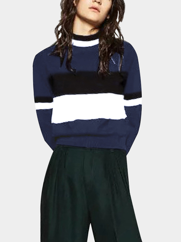 Multi-color Crew Neck Basic Style Jumper