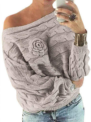 Light Khaki Off Shoulder Bat-wing Sleeves Random Floral Sweater