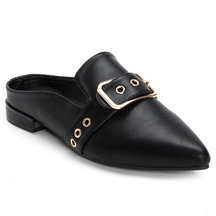 Black  Buckle Design Pointed Toe Mules