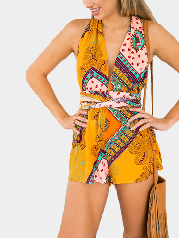 Yellow Folk V Neck Convertible Playsuit