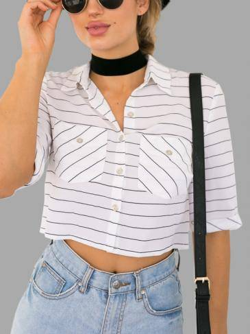 Stripe Pattern 1/2 Length Sleeves Cropped Shirt