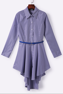 Dark Blue Striped Single Breasted Shirt Vestido com Self-Tie Waist