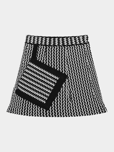 Black Knit Striped Skirt with A Pocket