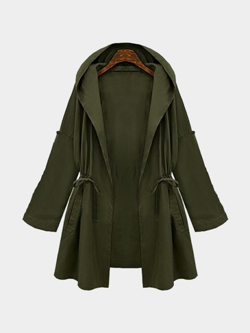 Army Green Trench Coat With Drawstring Waist