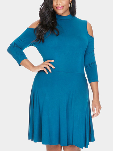 Plus Size Cold Shoulder Dress in Medium Blue