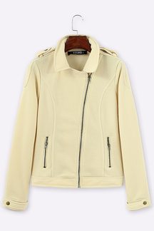 Apricot Lapel Collar Zip Detalles Casual Jacket