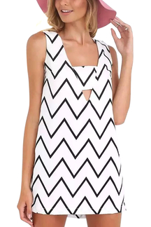 Zigzag Print Sleeveless Mini Shift Dress