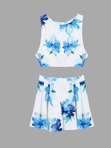 Sleeveless Fleated Hem Floral Print Zip Closure Top & Skirt Co-ord