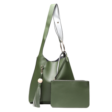Green Fashion Shoulder Bag with Tassel Embellished