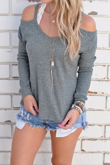 Casual Thin Shoulder Cold Shoulder Long Sleeve T-shirt